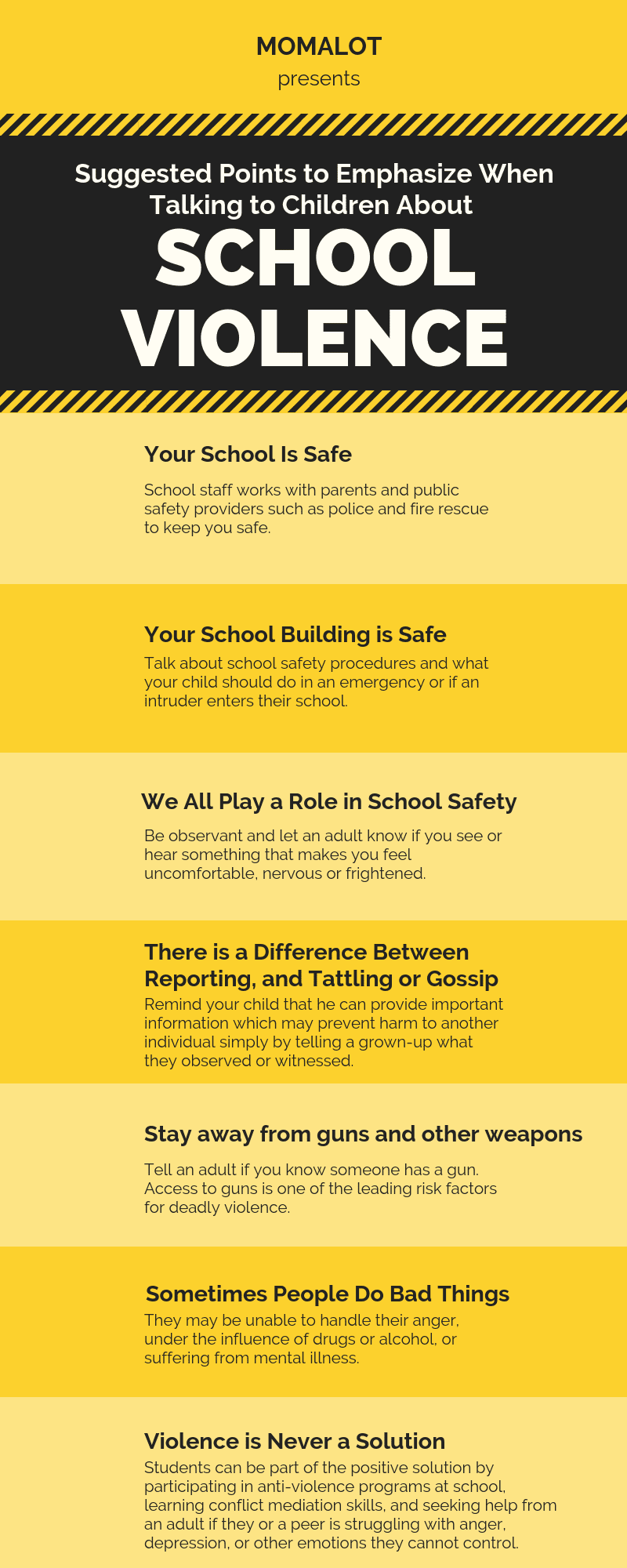 Suggested Points to Emphasize When Talking to Children About School Violence - Infographic - gun safety