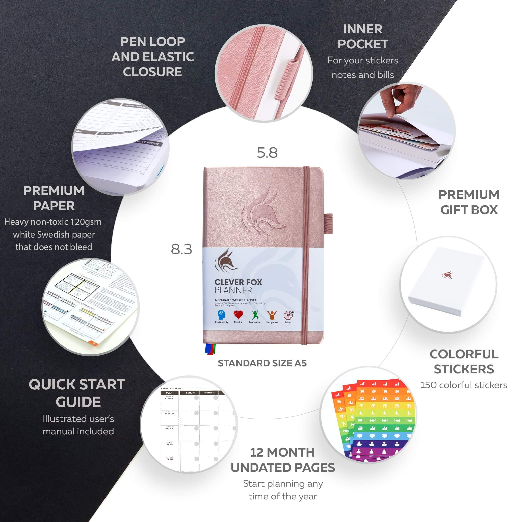 clever fox rose gold pro planner specs